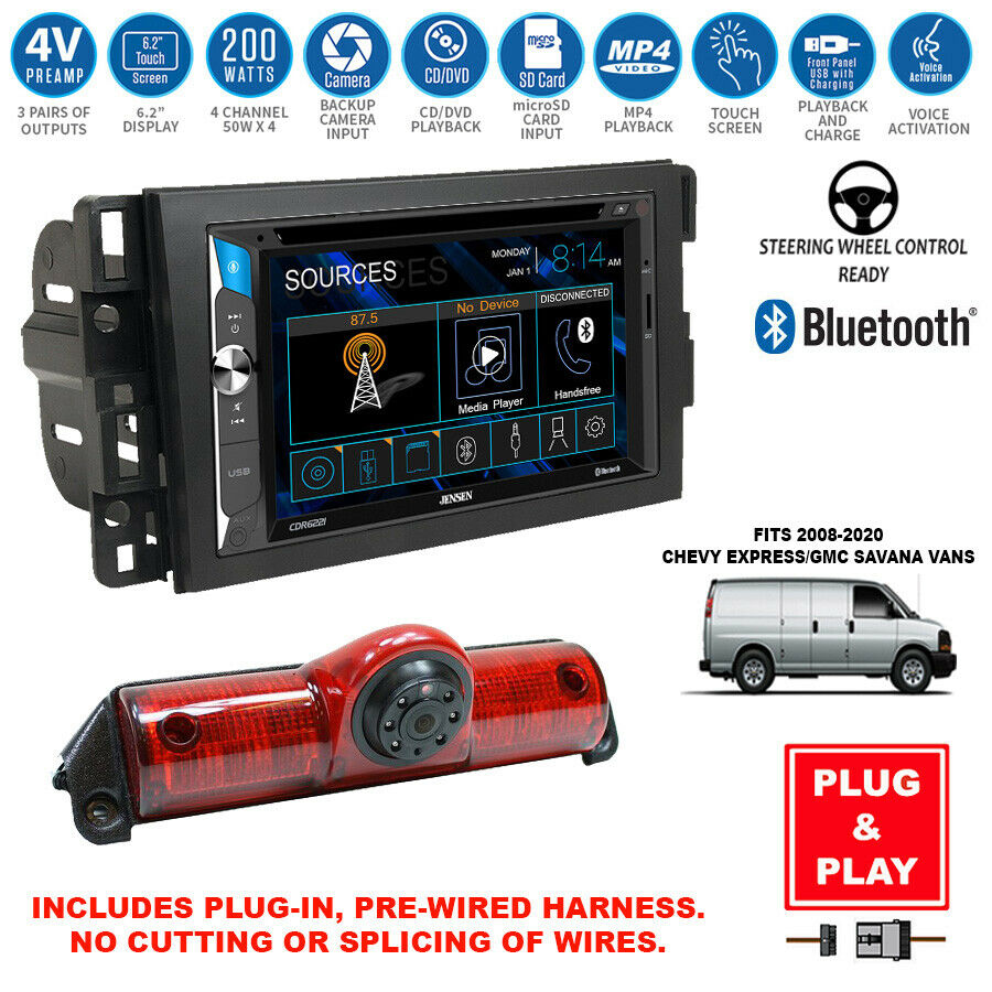 double din touchscreen usb radio backup camera chevy express savana van dash kit ebay. Black Bedroom Furniture Sets. Home Design Ideas
