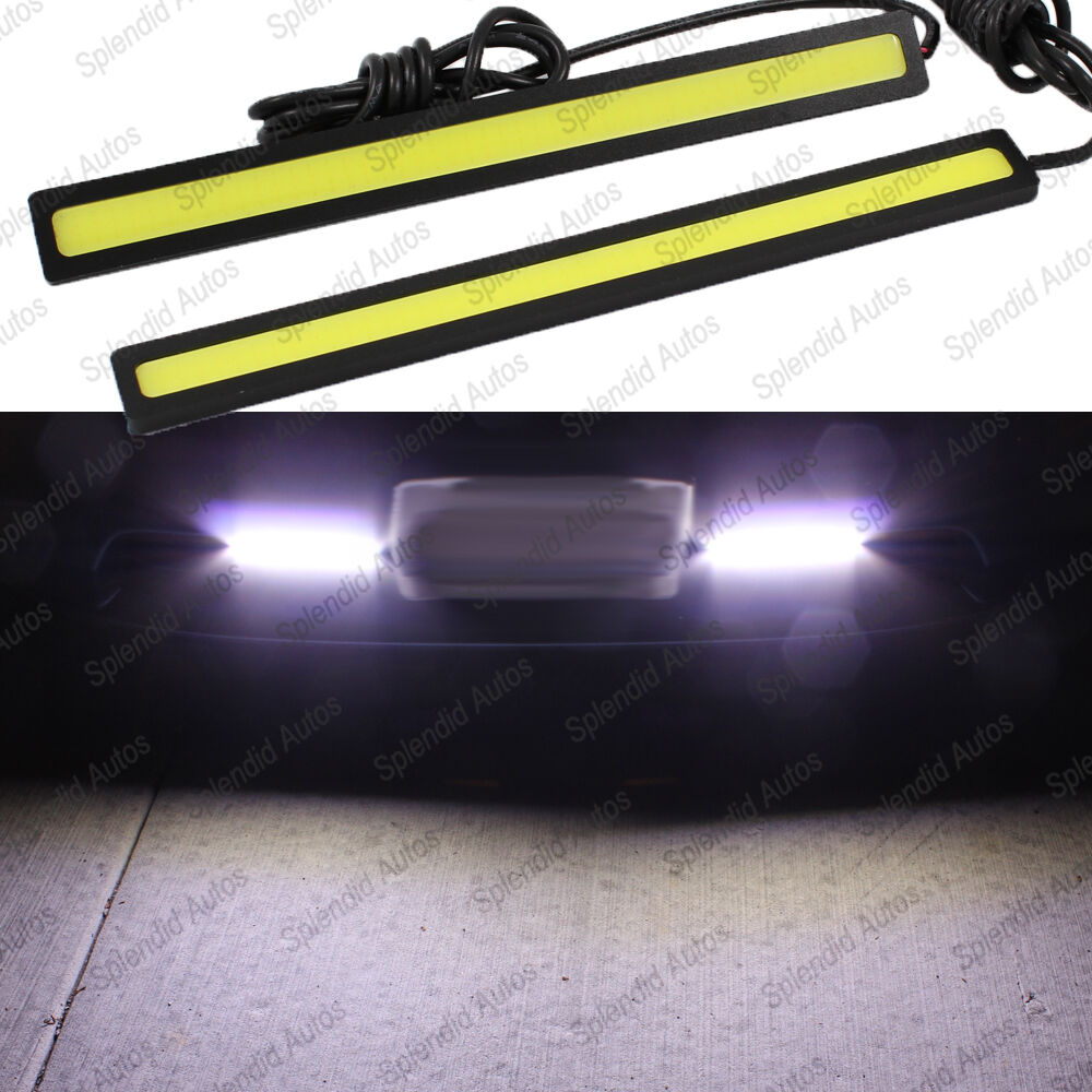 2x super bright white cob led lights drl fog driving lamp waterproof. Black Bedroom Furniture Sets. Home Design Ideas