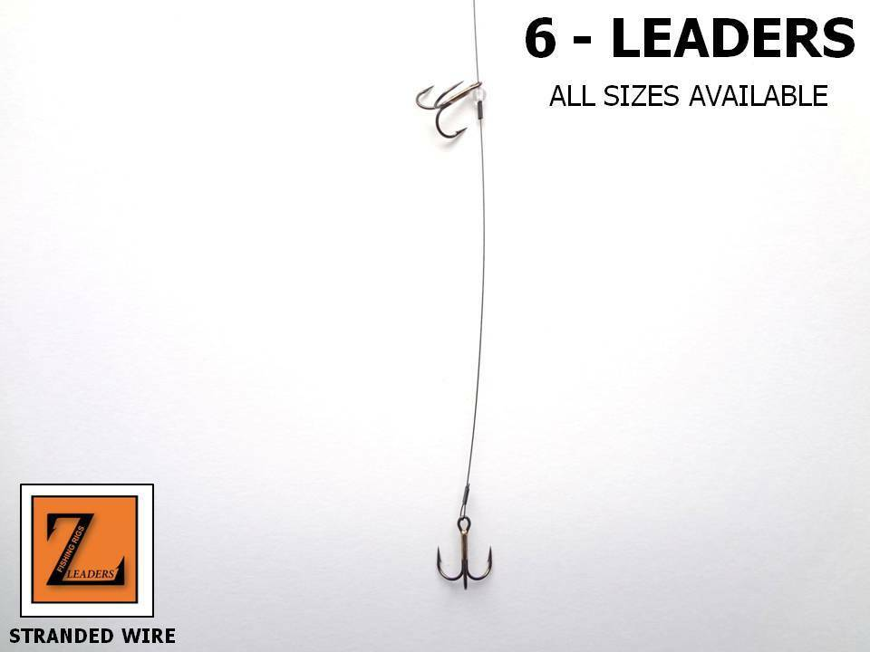 6 wire ice fishing tip up leader double treble hook for Ice fishing tip up line