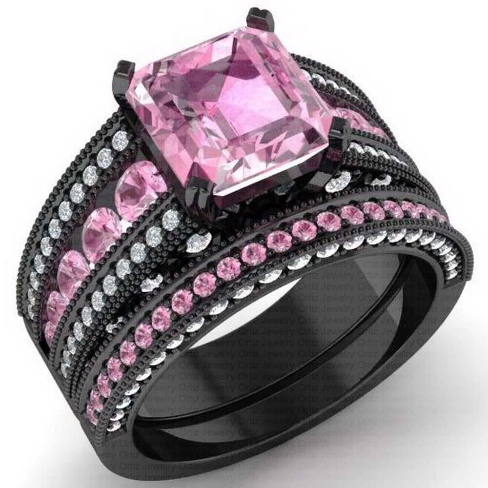 Black And Pink Wedding Rings: 925 Black Sterling Silver CZ Moissanite Pink Radiant
