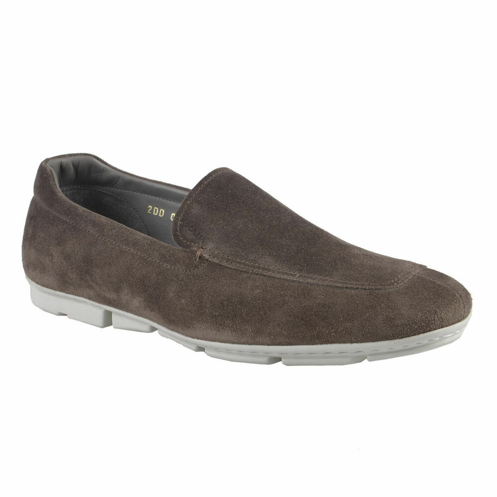prada s gray suede leather loafers shoes sz 6 7 7 5 8