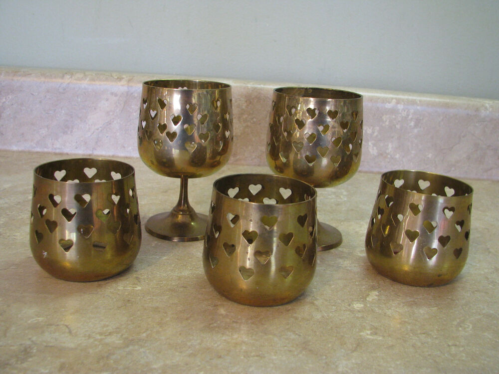 Vintage brass pierced cut out hearts candle holders votive for Flat candle holders