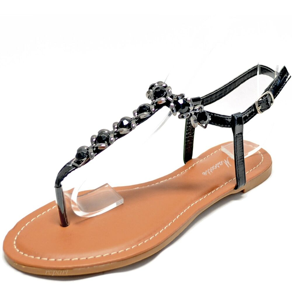 New women's shoes sandals t strap open toe rhinestones ...