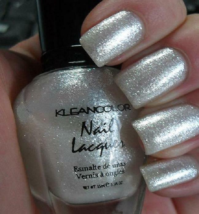 New KLEANCOLOR Metallic White Nail Polish Glitter Varnish ...