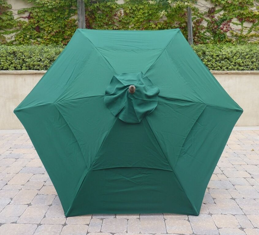 Double Vented 9ft Umbrella Replacement Canopy 6 Ribs In Green Canopy Only Ebay