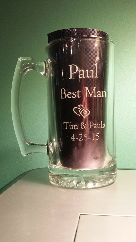 Engraved Wedding Mugs : ... Beer Mug 27 oz. Glass Personalized Engraved Wedding Gift Groom eBay