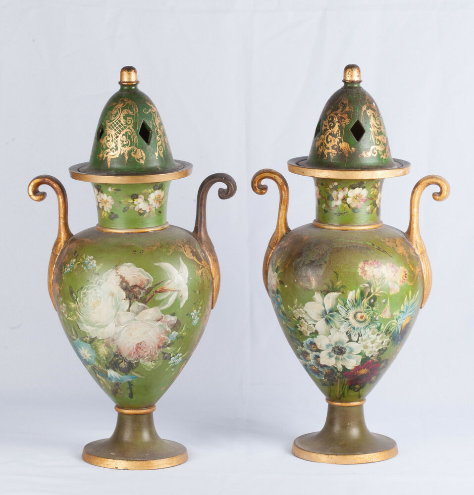 Pair Of 19th Century Hand Painted Terracotta Vases With