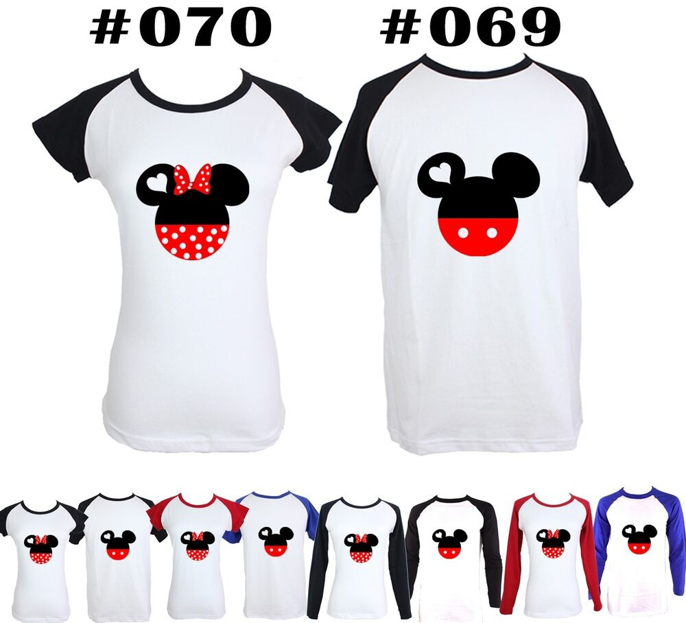 Shirt design for couples - Disney Mickey Minnie Mouse Couple Head Design Couple T Shirt Graphic Tee Tops