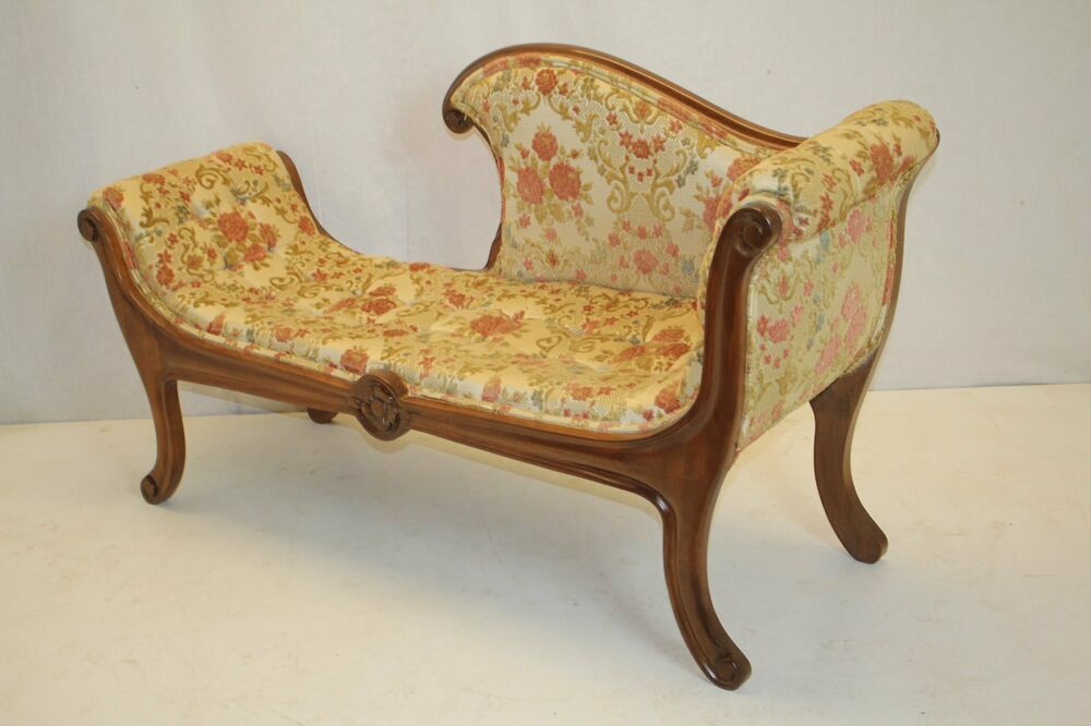 Regency style antique loveseat recamier tufted settee for Antique style chaise lounge