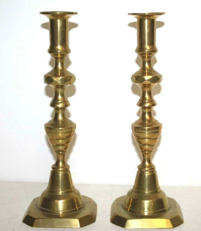 Antique Victorian Pair Of Candlestick Holder Solid Brass