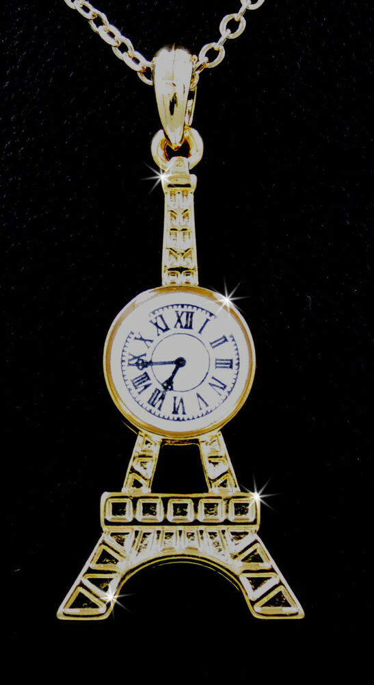 eiffel tower clock pendant charm gold tone chain