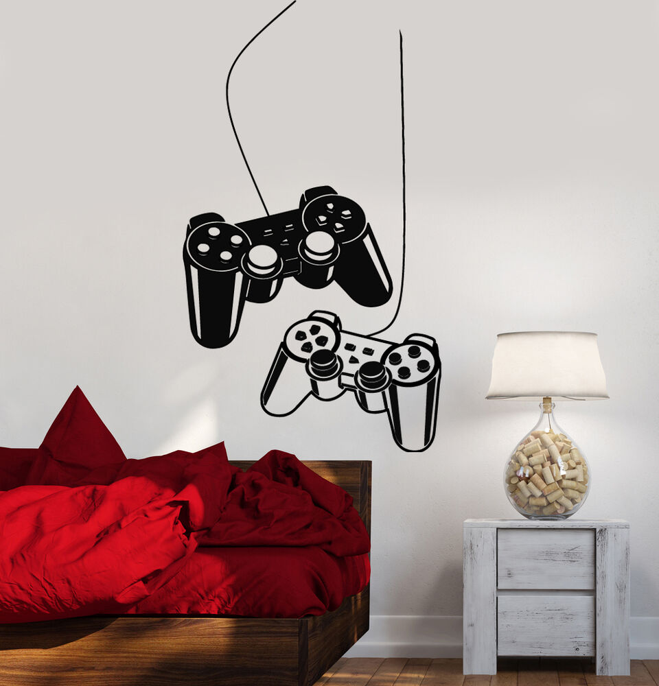 Video game wall decals ebay joystick wall decal gamer video game play room kids vinyl stickers art ig2532 amipublicfo Gallery