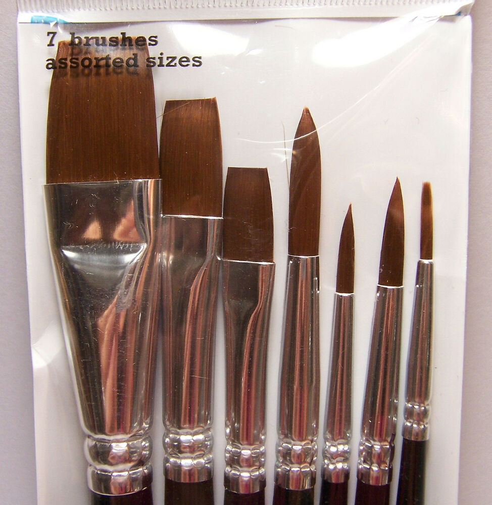 7 artist paint brushes round flat synthetic 4 acrylic for Oil or acrylic