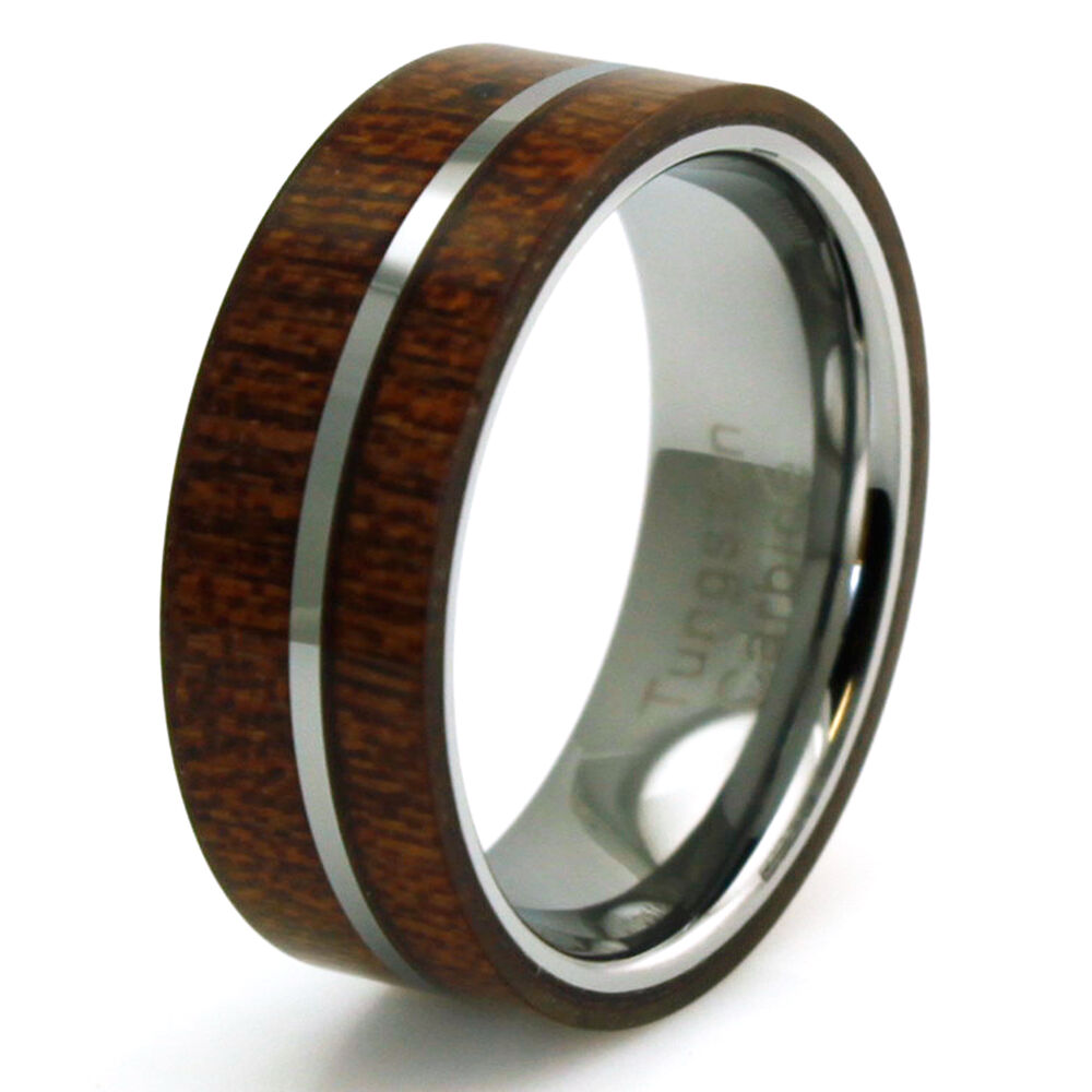 Tungsten Carbide Mahogany Wood Inlay Flat Wedding Band 8mm