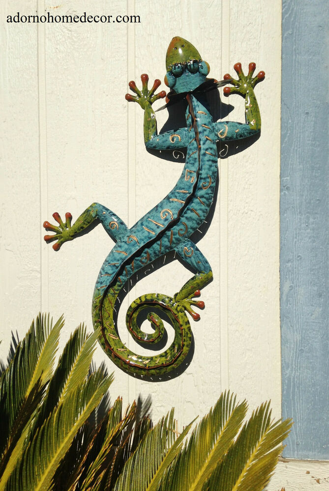 Metal gecko wall decor garden art indoor outdoor patio for Outdoor garden wall decor