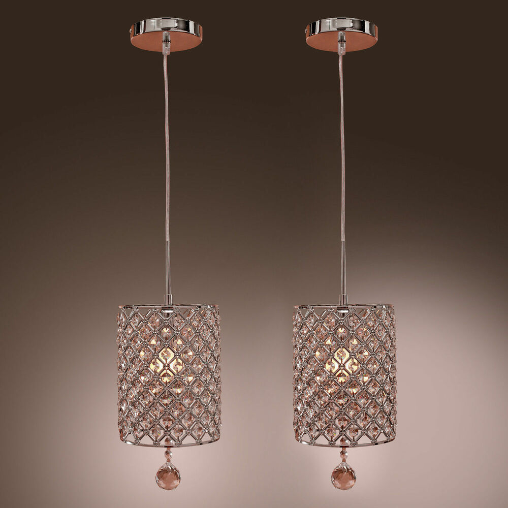 2pcs modern crystal ceiling light pendant drop hanging for Modern hanging pendant lights