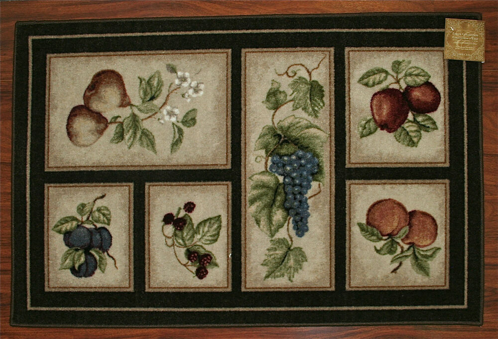 30x46 Kitchen Rug Mat Brown Washable Mats Rugs Fruit