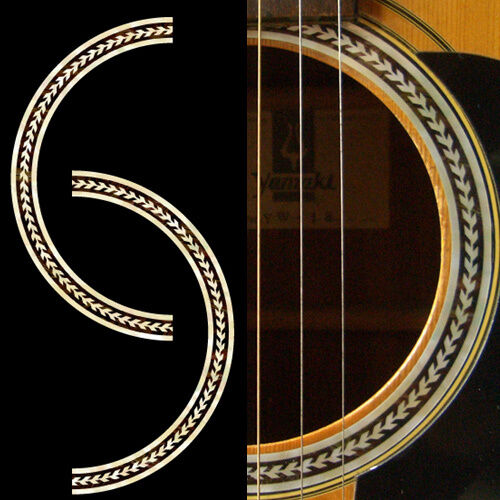 rosette herringbone purflinng sound hole inlay sticker decal acoustic guitar ebay