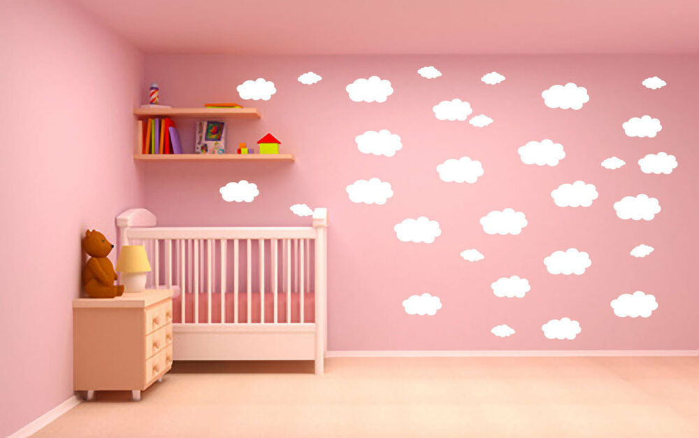 15x fenster aufkleber wandtattoo wolken kinderzimmer dekoration ebay. Black Bedroom Furniture Sets. Home Design Ideas
