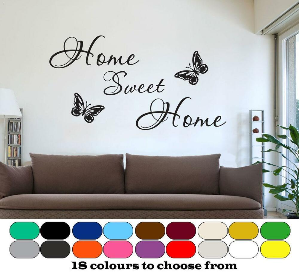 home sweet home wall art quote butterfly sticker decals mural new for 2015 ebay. Black Bedroom Furniture Sets. Home Design Ideas
