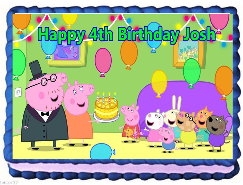 PEPPA PIG EDIBLE CAKE TOPPER BIRTHDAY DECORATIONS | eBay