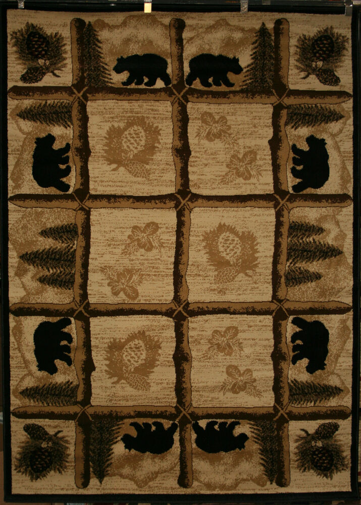 5x8 Bear Lodge Cabin Southwest Area Rug Rugs Pine Black