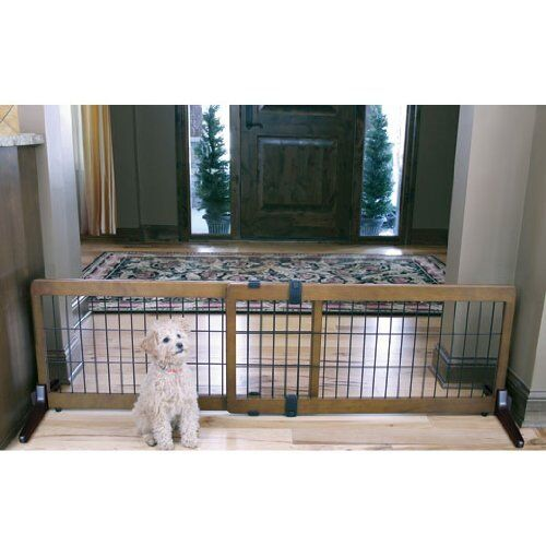 Extra Wide Free Standing Baby Pet Dog Gate Cherry Wood