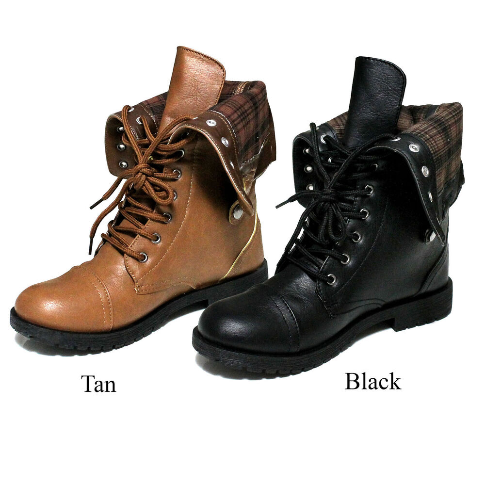 Fold Down Combat Boots For Women