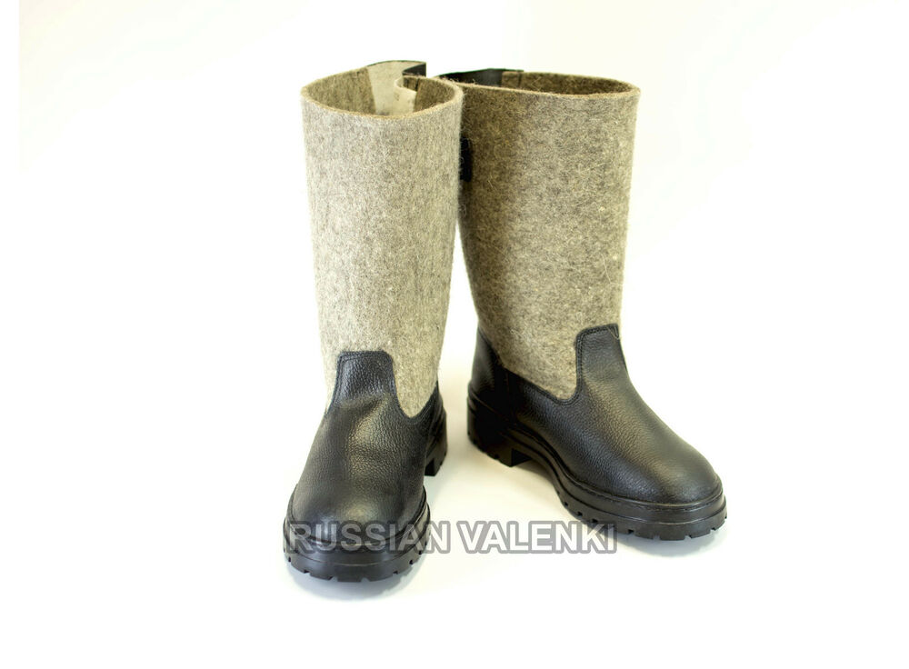 Russian valenki felt wool leather winter shoes ice for Ice fishing boots