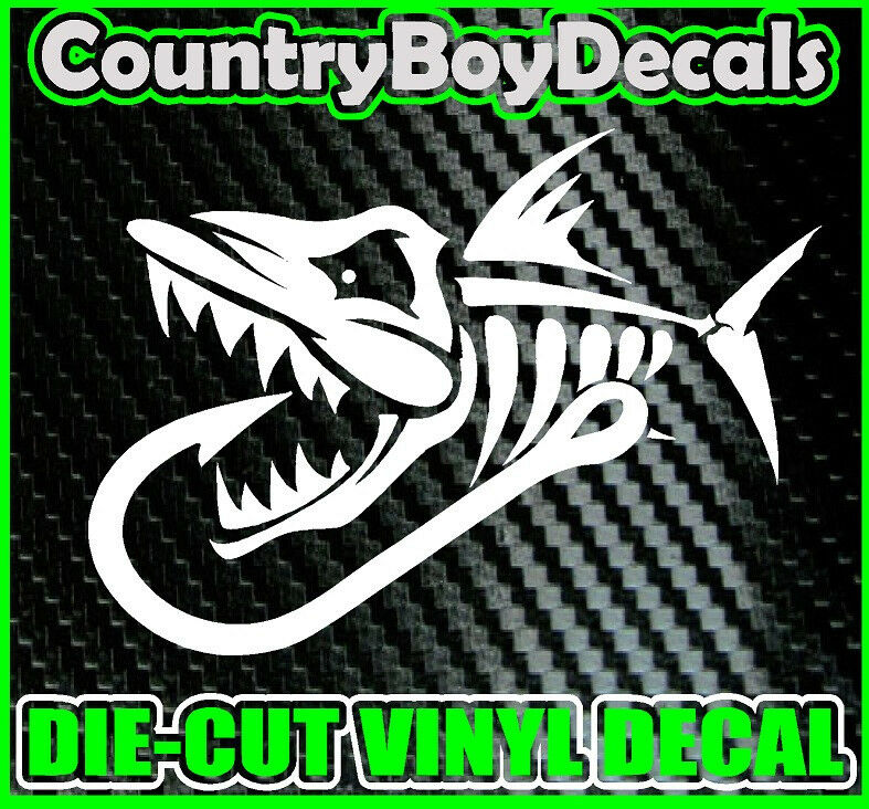 Skeleton fish with hook vinyl decal sticker truck diesel for Where to buy fishing license near me