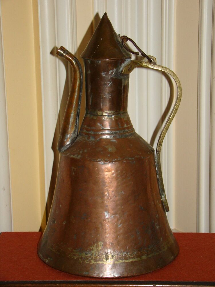 vintage copper pitchers antique copper amp brass arabic turkish middle east water 3178