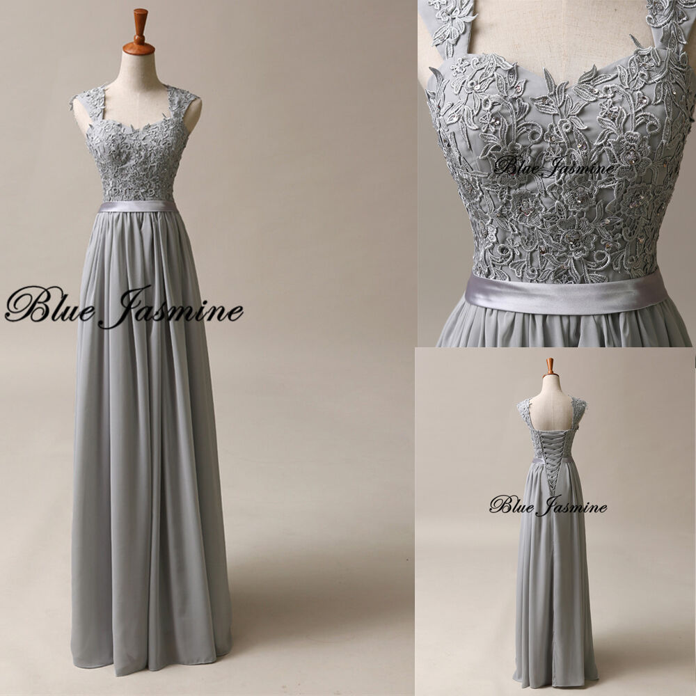 Stock long formal evening gown gray bridesmaid prom dress for Ebay wedding bridesmaid dresses