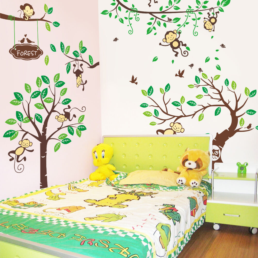 wandtattoo wandsticker wandaufkleber affen wald gro kinderzimmer xxxxl 13 ebay. Black Bedroom Furniture Sets. Home Design Ideas