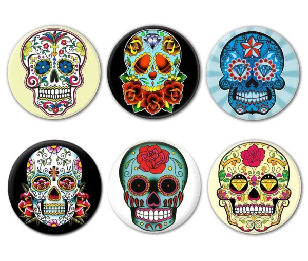 Lot de 6 badges CALAVERA - Tête de mort Mexicaine Sugar Skull Tattoo Tatouage