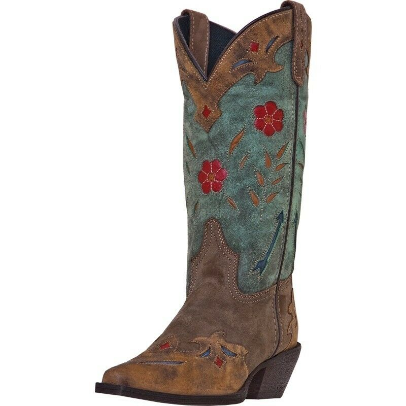 Original Teal Blue Roper Style Cowboy Boots  Justin Brand  Womens Size 6 B
