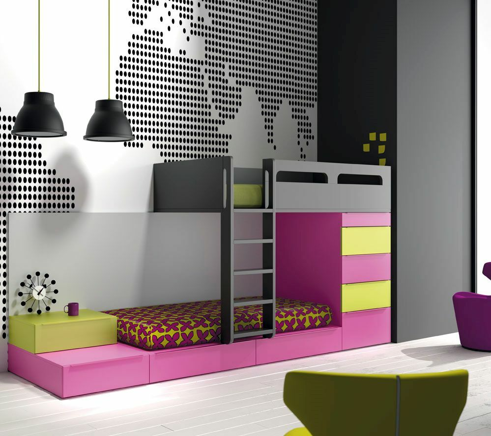 hochbett design kinderzimmer mit 2 betten schubkasten kleiderschrank leiter ebay. Black Bedroom Furniture Sets. Home Design Ideas