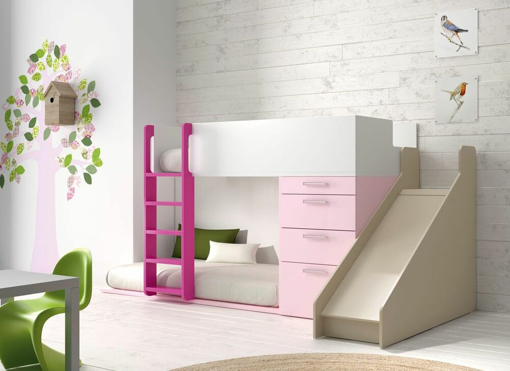 komplett kinderzimmer m bel mit etagenbett rutsche schubkasten kleiderschrank ebay. Black Bedroom Furniture Sets. Home Design Ideas