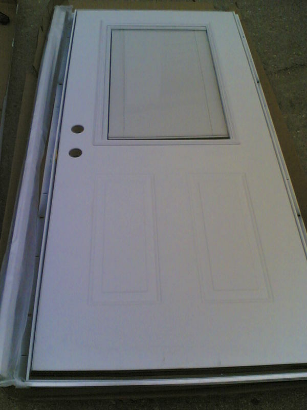 Nib steel exterior door steel frame built in shade for Outside doors and frames