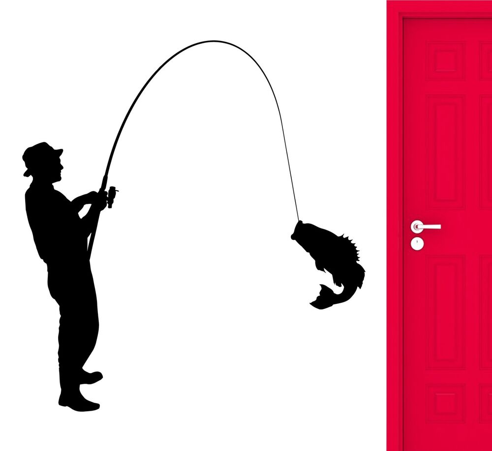 Wall decal fishing fish fisherman hobbies vinyl stickers for Fishing vinyl decals
