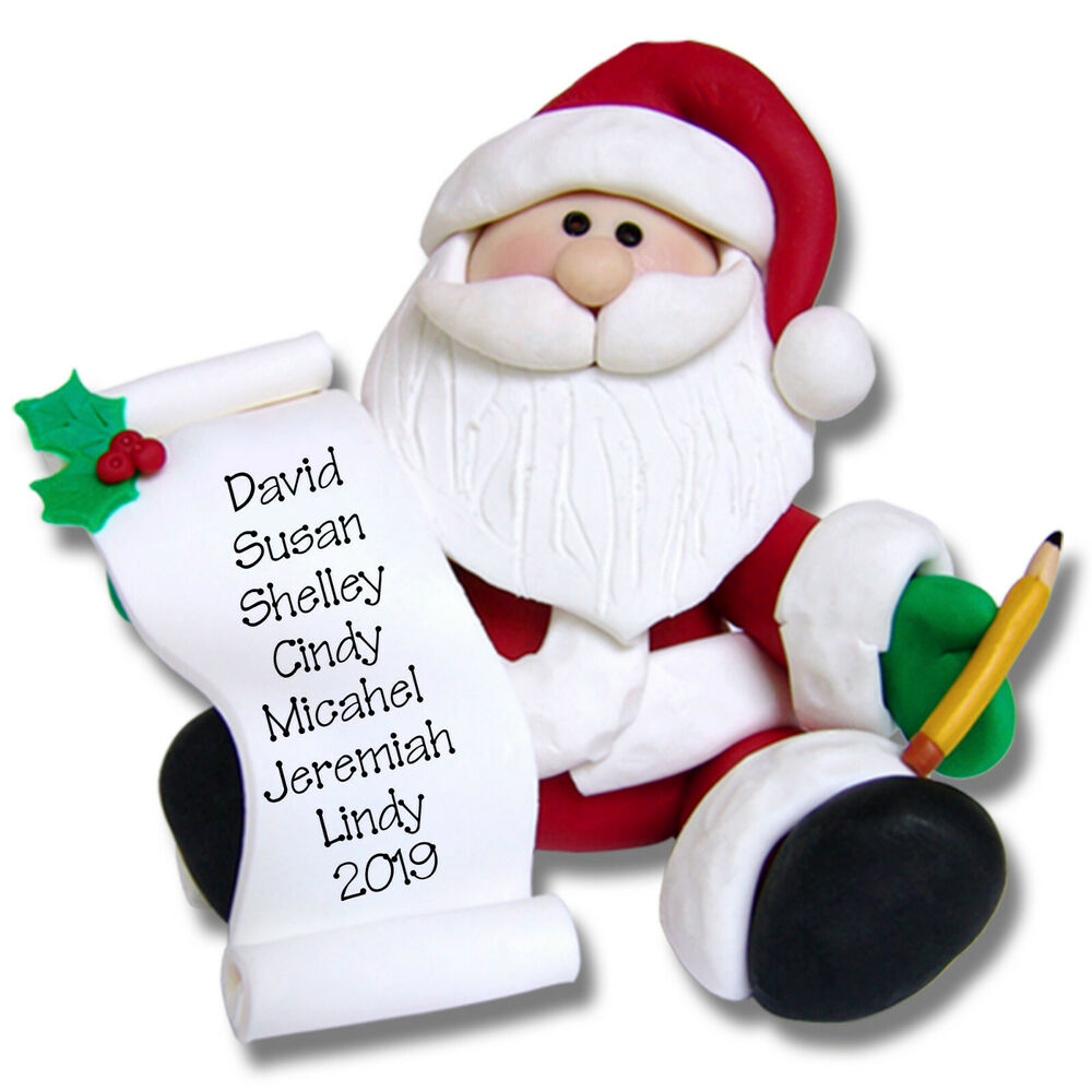 Polymer Clay Christmas Ornament: SANTA W/LIST Personalized Christmas Ornament Polymer Clay