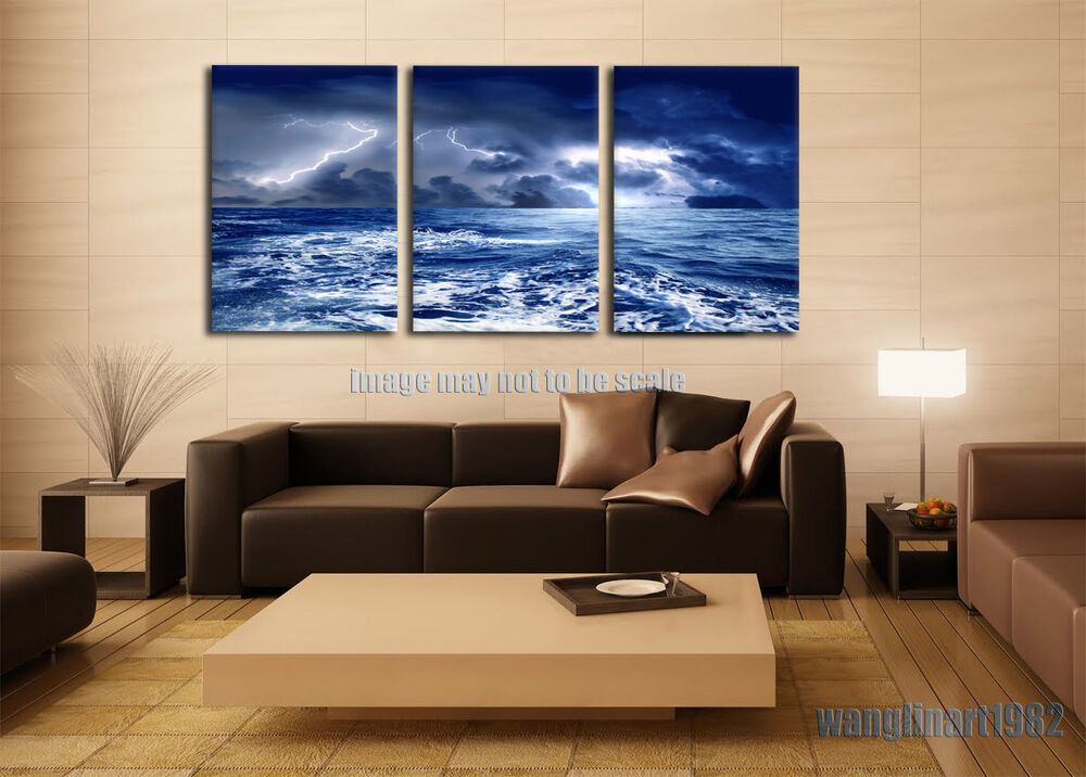 Large stormy sea water canvas painting poster print no Interiors by design canvas art
