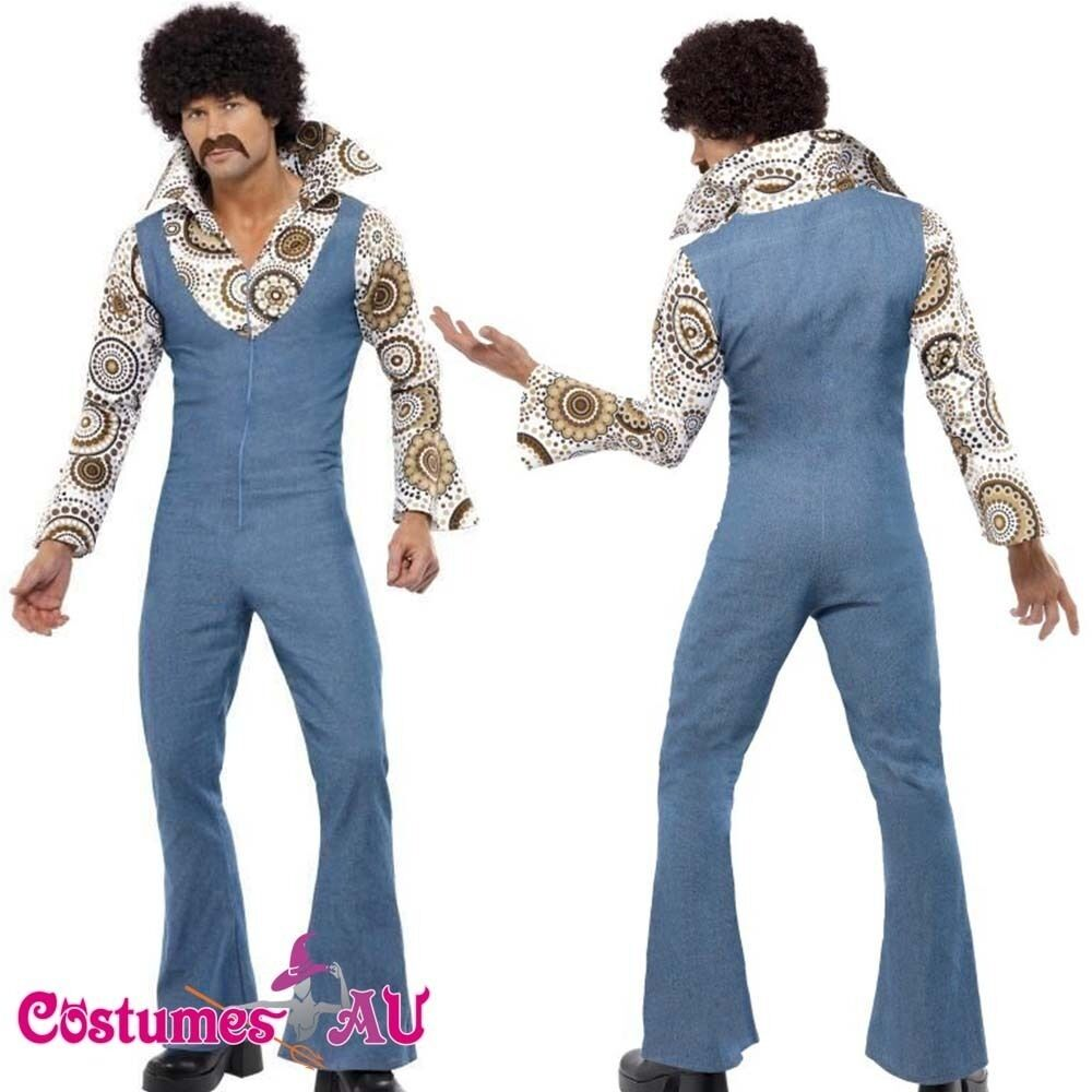 Mens 60s 70s 1960s Hippie Groovy Costume Halloween Retro Hippy Disco