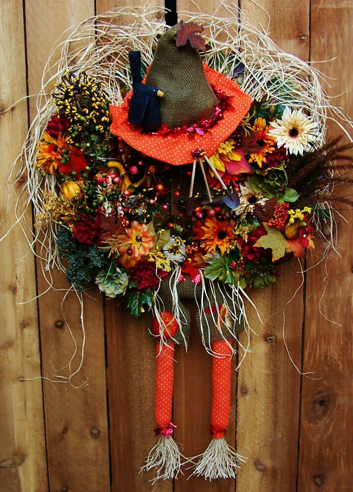 Xxl fall halloween wreath primitive country scarecrow Fall autumn door wreaths