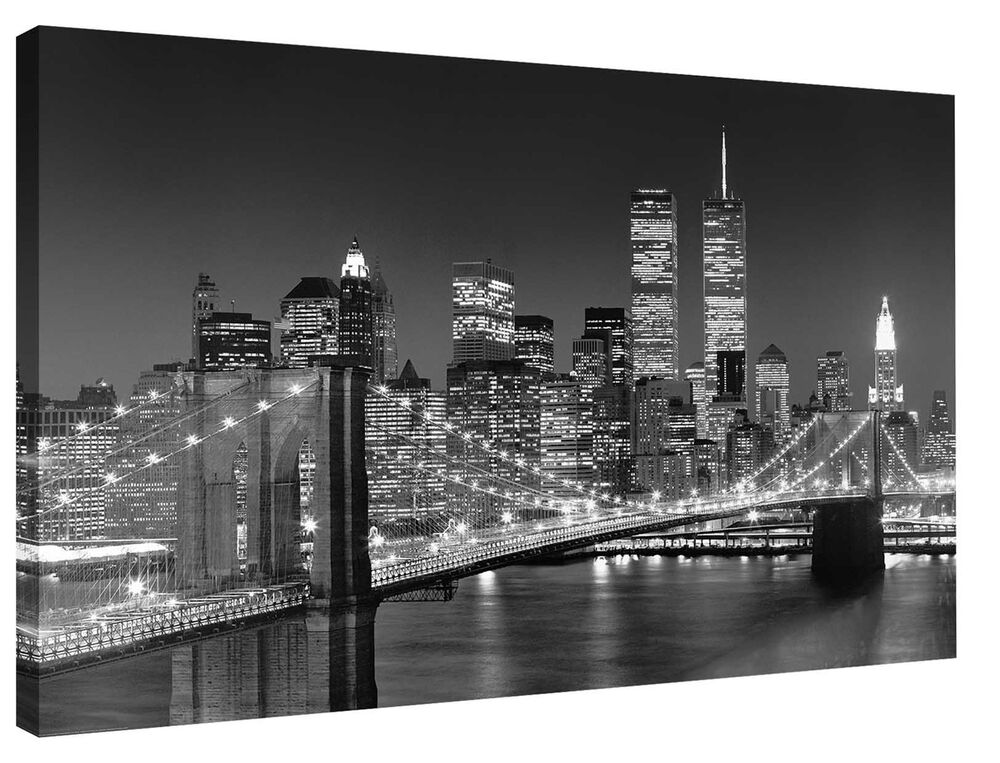 Not framed canvas print home decor wall art painting new for Brooklyn bridge black and white wall mural
