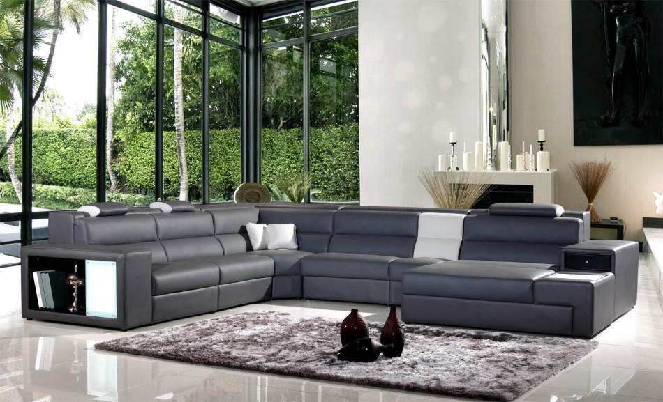Polaris Modern Grey Leather Sectional Sofa W Light