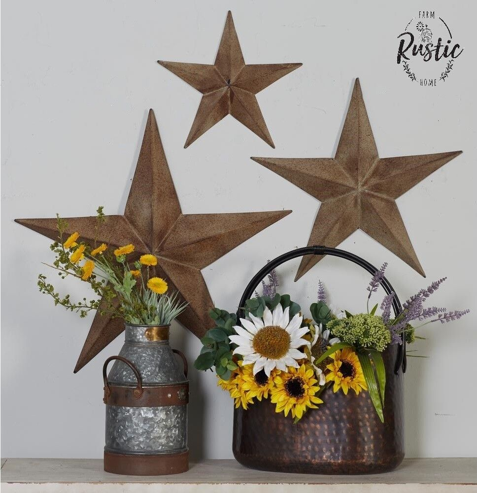 Vintage Star Wall Decor : Rustic metal star set barn antique vintage texas tin wall