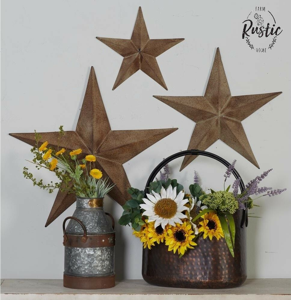 Rustic Metal Star Set Barn Antique Vintage Texas Tin Wall ...