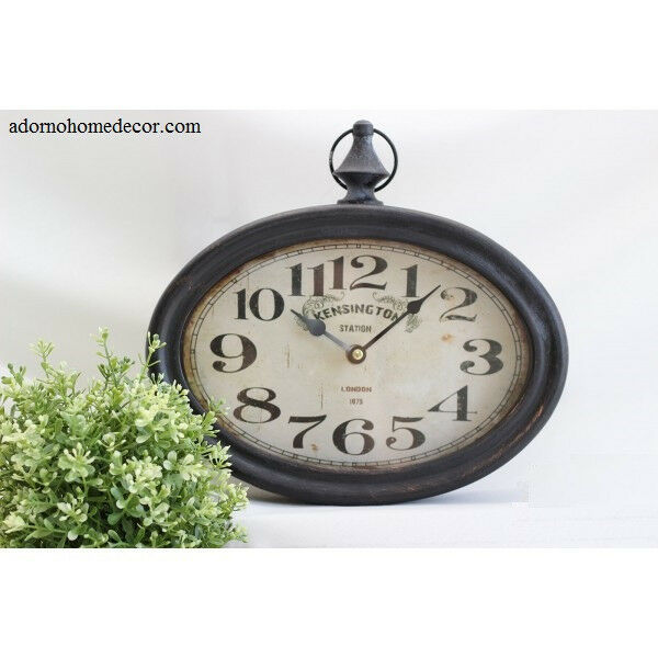 small oval metal wall clock vintage numbers chic french. Black Bedroom Furniture Sets. Home Design Ideas
