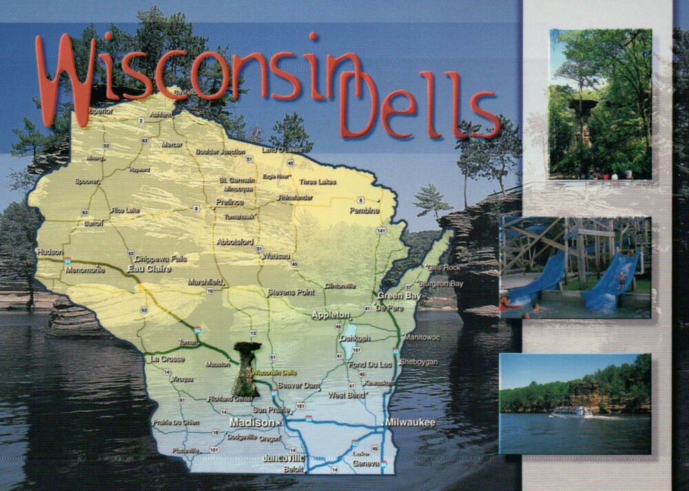 Wisconsin Dells State Map Madison Milwaukee Green Bay