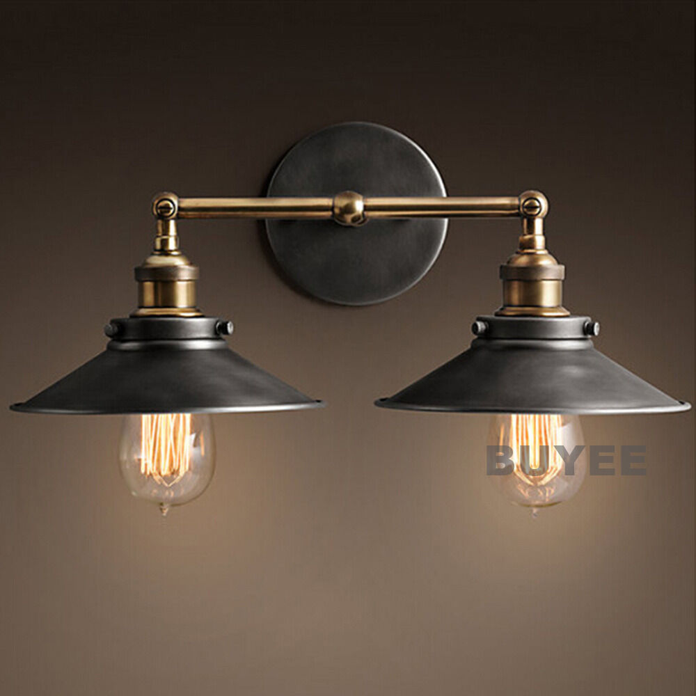 VINTAGE INDUSTRIAL CAFE METAL BLACK DOUBLE RUSTIC SCONCE WALL LIGHT WALL LAMP eBay